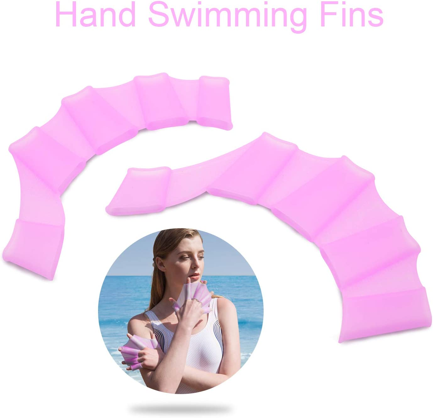 TRENDBOX Swim Swimming Soft Silicone Gear Paddle Fins Fingers Hand Palm Webbed Flippers Training Gloves Water Resistance