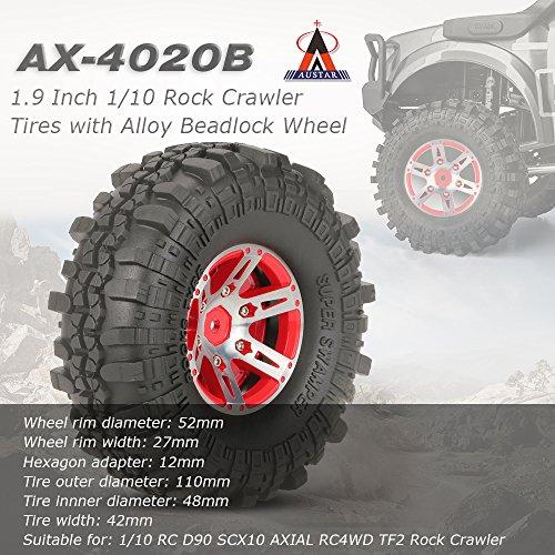 Goolsky 4Pcs AUSTAR AX-4020B 1.9 Zoll 110mm 1:10 Rock Crawler Reifen mit Alloy Beadlock Felge für D90 SCX10 AXIAL RC4WD TF2 RC Auto