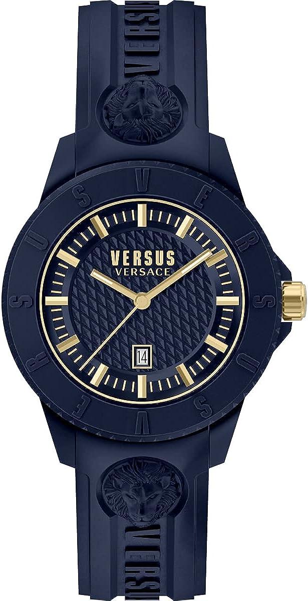 Versus Versace Tokyo - Reloj de pulsera para hombre (correa de silicona, 42 mm), color azul y dorado