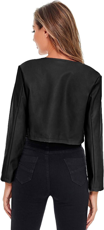 SheIn Women's Open Front Casual PU Leather Cropped Jacket Long Sleeve Bolero