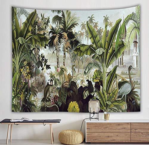 KHKJ Tapiz de Hojas Verdes en 3D Planta Tropical Colgante de Pared Casa de Campo Decoración del hogar Tapiz Mantel Colcha Tenture Alfombra A9 150x130cm