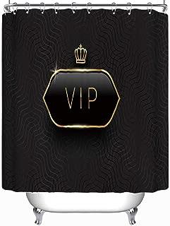 YOLIYANA VIP Black Glass Label Golden Crown Vector Shower Curtain White Shower Curtain 71''Long x 59''Wide