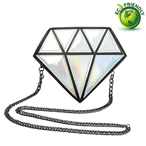 8bb389ecf3 Myathle Silver Hologram Diamond Small Shoulder Bags PU Leather Crossbody  Chain Bag for Womens
