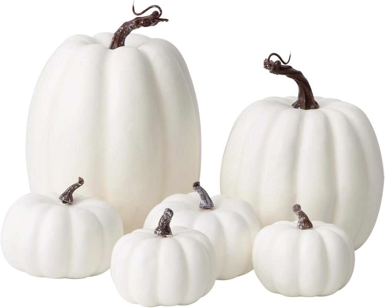 Oyydecor 6Pcs Assorted Sizes Artificial Pumpkins Decoration Harvest Fall White Pumpkins Fake Foam Pumpkins for Fall Autumn Decor Thanksgiving Halloween Decorations (White, 6pcs)