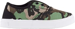 Oomphies Robin Boys Sneakers - Slip On - No Lace Kids Tennis Shoe - Camo