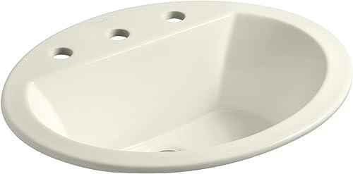 wholesale Kohler 2021 K-2699-8-96 Ceramic Drop-In outlet sale oval Bathroom Sink, 21 x 21 x 9.75 inches, Biscuit online