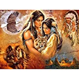 YINGXIN134 2000 Piezas de Rompecabezas para Adultos - Rompecabezas - Pareja Tribal Abrazando al pequeño Lobo Juego de Rompecabezas Obra de Arte para Adultos, Adolescentes, Familia, 70x100cm