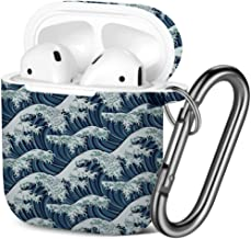 [ Compatible with AirPods 2 and 1 ] Shockproof Soft TPU Gel Case Cover with Keychain Carabiner for Apple AirPods (Japanese Great Wave Print)
