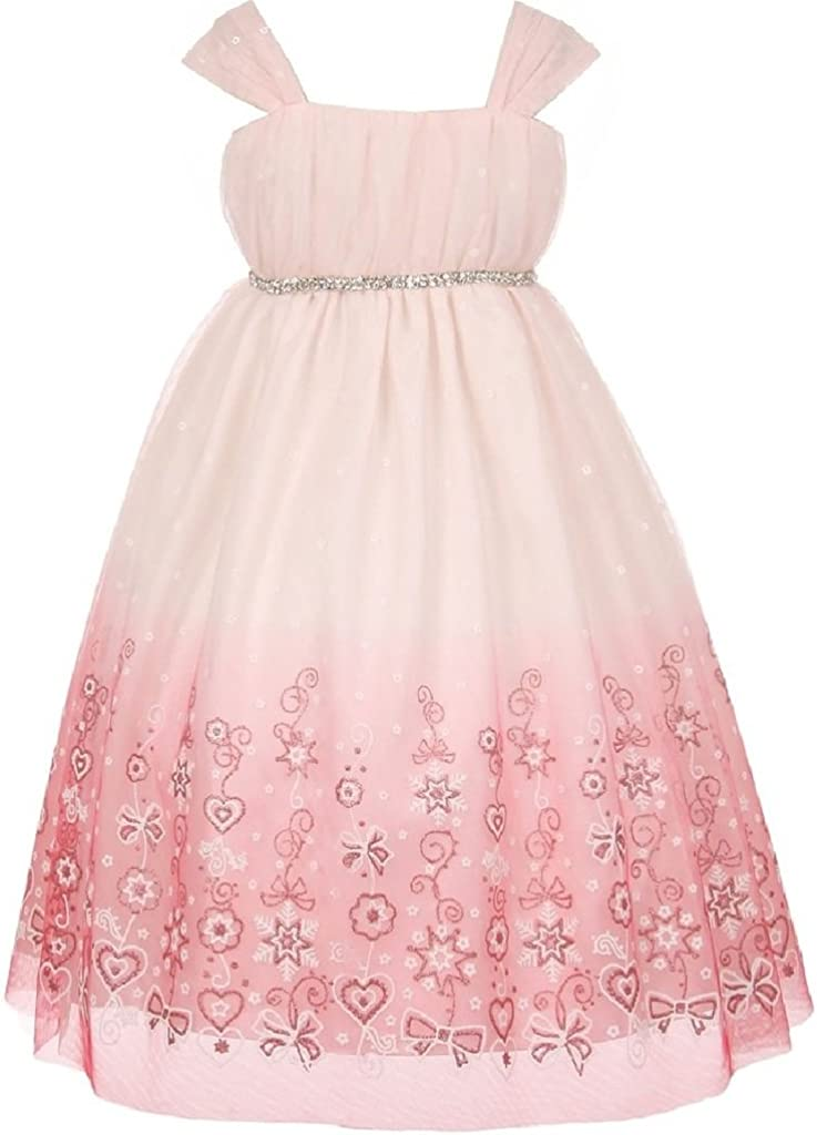 BluNight Collection High Waisted Ombre Mesh Glitter Little Girl Special Occasion Dress