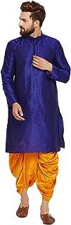 Sojanya (Since 1958) Men's Royal Blue and Mustard Dupion Silk Dhoti Kurta Set