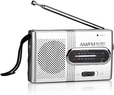 Akemaio BC-R21 Am/FM Receptor Universal portátil Casual Radio Mini Altavoces estéreo Reproductor de música MP3, Ultra-Long Antena