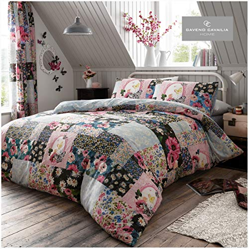 Gaveno Cavailia Floral Patchwork Duvet Cover Quilt Bed Set With Pillow Case, Reversible, Poly Cotton, Ellis Multi, King Size Bedding