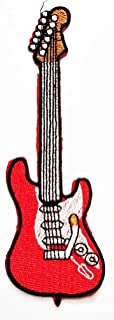 Nipitshop Patches Red Electric Guitar Music Musical Instrument DIY Applique Embroidered Sew Iron on Patch for Bags Jackets Jeans Clothes