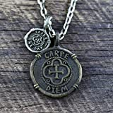 Men Carpe Diem Brass Coin Necklace