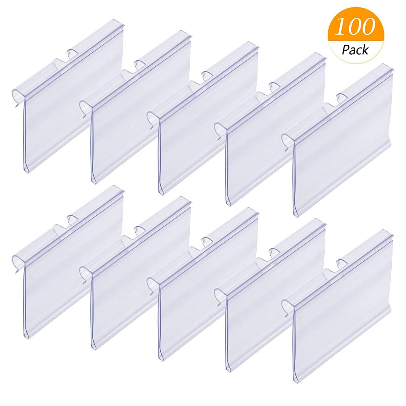 Counting Mars 100 Pack Plastic Wire Shelf Price Label Holders Merchandise Display Sign Display Holder (6cm x 4.2cm), Clear