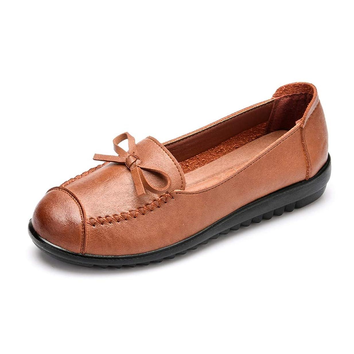 め言葉パラダイス奨励します[実りの秋] シニアシューズ レディース 25.5CMまで お年寄りシューズ リボン 疲れにくい 滑り止め 婦人靴 モカシン 介護用 軽量 安定感 通気性 高齢者 母の日 敬老の日 通年