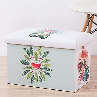MJY Paniers à linge, feuilles Flamingo avec couvercle Paniers à linge avec poignée Grande capacité repliable Facile à tran...
