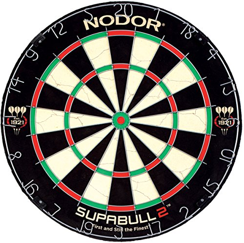 Nodor SupaBull2 Bristle Dartboard Equipped with Easy-Turn Steel Numbers for Beginning or Recreational Players , Black