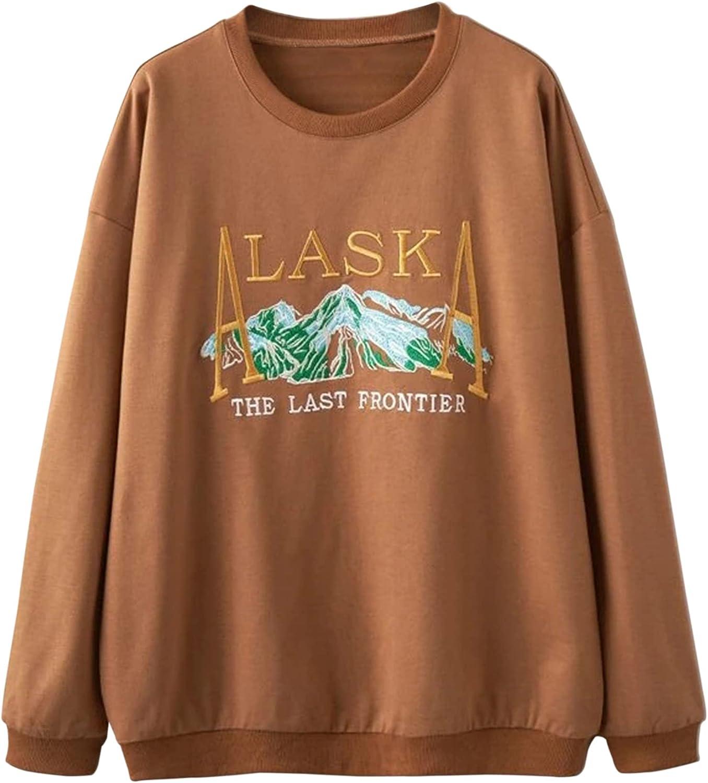 Meladyan Women Vintage Alaska Letter Print Embroidery Sweatshirt Loose Long Sleeve Crewneck Casual Oversized Pullover Tops