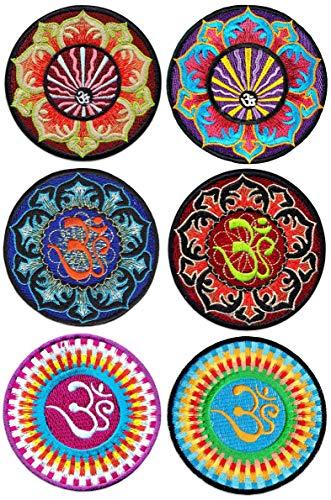 Wakapu Om Mandalas 6er Set Bestickte Aufnäher Aufbügler Patches Bügelbild Patch Hindu Yoga Aum Lotus Blume Buddha Magie