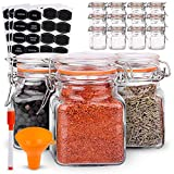 Spice Jars - 12 Airtight Flip Top Bottles with 40 Labels & Chalkboard...