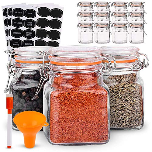 12 Airtight Flip Top Bottles with 40 Labels & Chalkboard Pen - Complete Set of 3.4 Ounce Square Empty Spice Bottles with Funnel