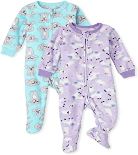 The Children's Place Baby Toddler Girl Llama Koala Fleece One Piece Pajamas 2-Pack