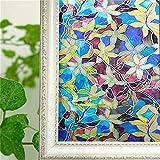 Película decorativa de ventana de privacidad de PVC, decoración de adhesivo de vitral de magnolia azul, película decorativa de vidrio laminado electrostático sin adhesivo engrosado en 3D A55 45x200cm