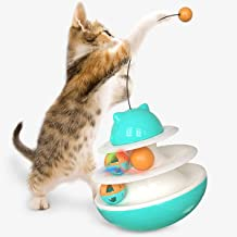 USWT Tumbler Cat Roller Tower Toy, Interactive Two Tier Tracks Kitten Circuit Chasing Toy