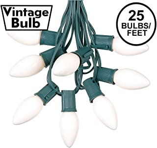 25 Foot C9 White Ceramic Christmas String Light Set - Outdoor Christmas Light String - Christmas Tree Lights – Opaque Christmas Bulbs - Roofline Light String – Outdoor String Lights - Green Wire
