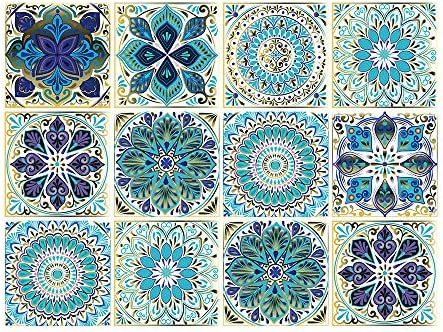 Mandala Style 12 Pcs 6x6 in Decorative Tile Stickers Peel and Stick Self Adhesive Removable product image
