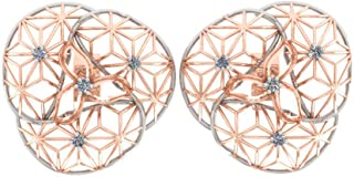 Perrian 18K Rose Gold 0.06 Carat Round (SI2 Clarity, GH Color) Diamond Earrings for Women