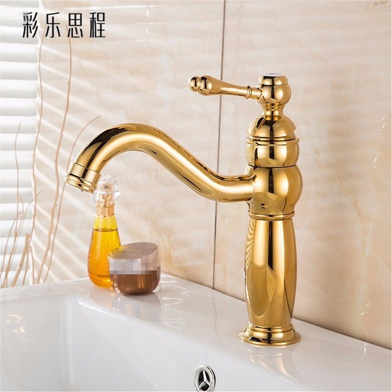Bijjaladeva Wasserhahn Bad Wasserfall Mischbatterie Waschbecken WaschtischDas Kupfer Gold Pull-Down-Badewanne und Kalten Wasserhahn Einzelne Bohrung auf der Spüle Waschbecken