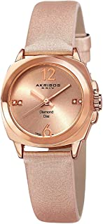 Akribos Xxiv Women's Rose Gold Dial Leather Band Watch - Ak742Rg, Analog Display, Swiss Quartz Movement