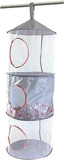 Rangement Suspendu pour Enfant - 3 Compartiments - Polyester - Motif étoiles - Rose / Blanc - 30x30x85cm