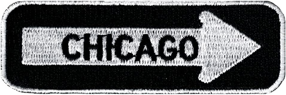 One Way Sign Chicago Illinois Embroidered Attention brand Iron-On Patch Road In a popularity Bik