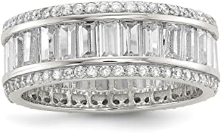 925 Sterling Silver Baguette Round Cubic Zirconia Cz Eternity Band Ring Fine Jewelry For Women Gift Set