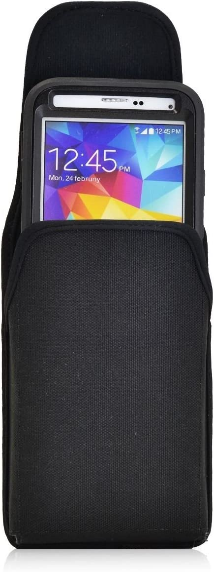 TurtleBack Vertical Ballistic Nylon Holster Magnetic Flap Closure Pouch with Metal Belt Clip for Samsung Galaxy S5 / Otterbox - Black