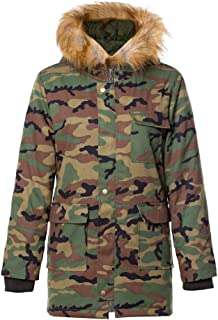 Womens Hooded Faux Fur Parka Military Camouflage Long Coat with Pockets Lightweight Waterproof Outdoor Jacket