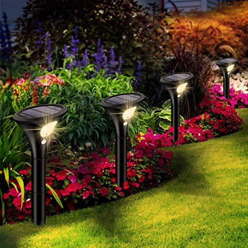 Leolee Solarlampen für Außen, [4 Stück] Solarleuchten Garten Warmweiß LED Solar Strahler 2 Modi mit Bewegungsmelder IP65 Wasserdicht Auto Ein/Aus Solarlicht für Bäume, Sträucher, Gartenweg