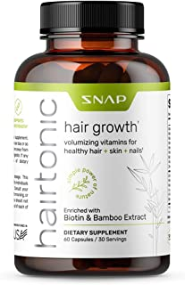 Hair Growth Vitamins for Women by Snap Supplements - Formula for Longer, Stronger, Healthier Hair - Scientifically Formulated with Biotin, Keratin, Bamboo - 60 Capsules