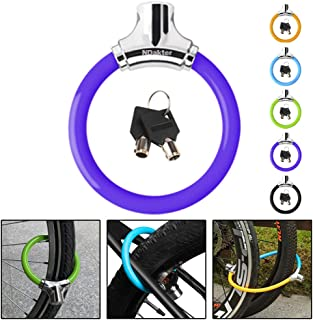 NDakter Bike Lock with 4ft Security Cable, 12mm Anti Theft Kids Bike Lock, Lightweight Unbreakable Bicycle Wheel Locks with 2 Keys for Road/Mountain/Commute Bike