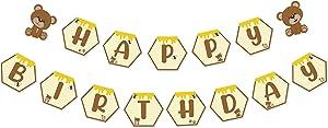 Bear Happy Birthday Banner, Teddy Bear Theme Bday Party Pennant Decor, Cute Honeycomb Birthday Sign for Daughter Son