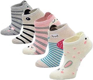 Calcetines Divertidos de Algodón para Niñas Calcetines con Dibujos de Animal Perro Gato, Calcetines Vistosos, Calcetines Novedad para Niños de 2 a 11 Años, Talla 20-34, 5 pares