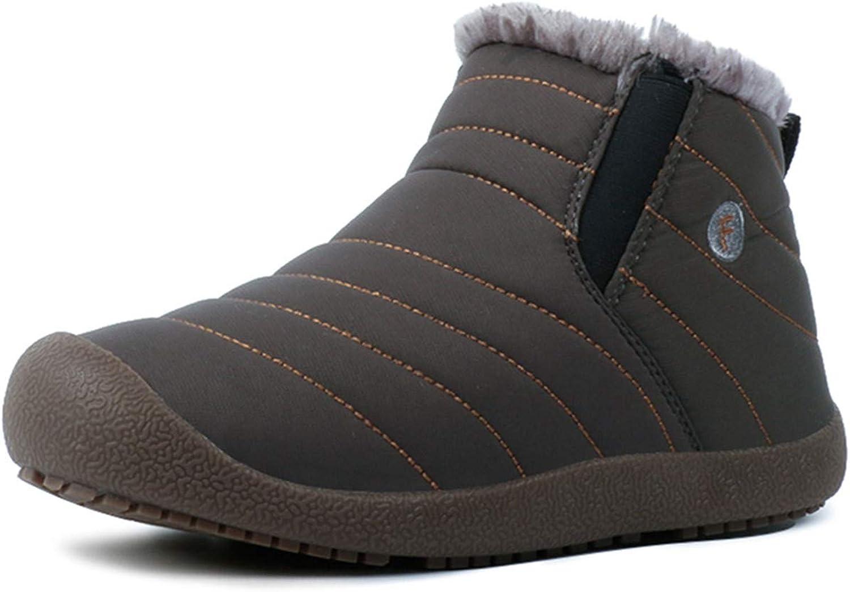 DADAWEN Men Women Slip On Waterproof Outdoor Anti-Slip Fur Lined Ankle Snow Boots