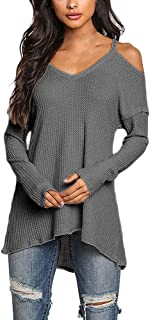 Blouses for Womens, FORUU Ladies Womens Casual V-Neck Tops Long Sleeve Cold Shoulder T Shirt Tee