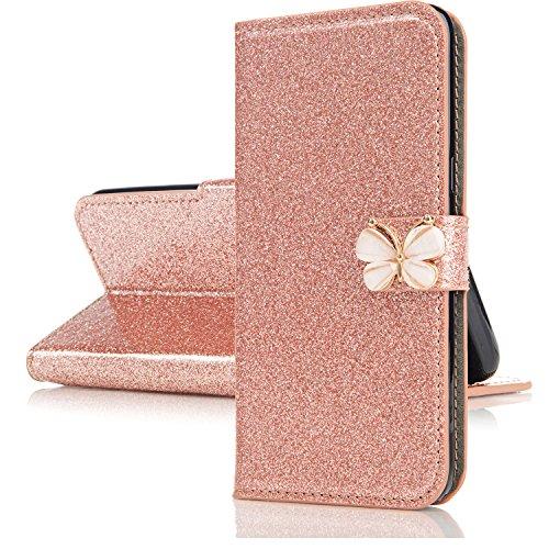 Miagon f/ür Huawei P30 Glitzer Brieftasche H/ülle,3D Diamant PU Leder Case Kartenslots St/änder Strass Wallet Flip Cover,Herz Schwarz