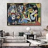 Carteles E Impresiones Les Femmes D'Alger De Pablo Picasso Pinturas En Lienzo RéPlica Obra De Arte Famosa Lienzo Arte De La Pared ImáGenes DecoracióN Para El Hogar 70x100cm (28x40in) Sin Marco
