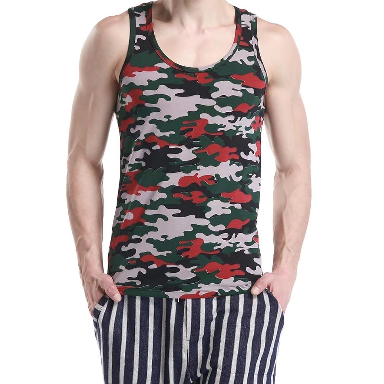 [eleitchtee] タンクトップ メンズ スリーブレス 迷彩 ノースリーブ トレーニングウェア 男性 インナーシャツ 006-bsfs-1520701(XL グリーン)
