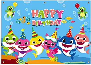 Kobit Shark Happy Birthday Banner Cute Cartoon Shark Birthday Backdrop Banner Baby Birthday Shark Party Decorations Supplies Family Photo Booth Backdrop, Large Size 71 x 49 inch (Shark)